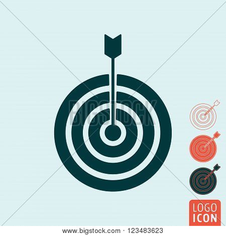 Target icon. Target symbol. Target with arrow icon isolated. Vector illustration