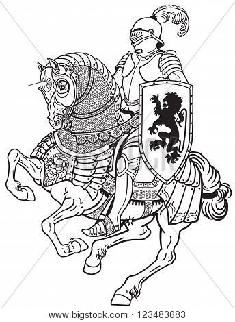 medieval knight riding armored horse in gallop. Black and white illustration
