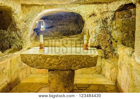 BETHLEHEM PALESTINE - FEBRUARY 18 2016: The chapel in the cave of the Church of the Nativity where Jesus the Christ was born on February 18 in Bethlehem.