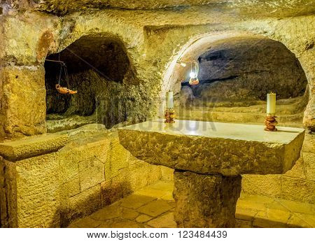 BETHLEHEM PALESTINE - FEBRUARY 18 2016: The small chapel in the cave under the Church of the Nativity is the place where Jesus the Christ was born on February 18 in Bethlehem.