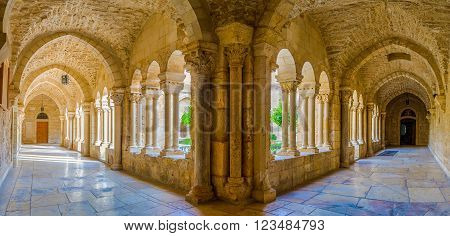 BETHLEHEM, PALESTINE - FEBRUARY 18, 2016: The panoramic view on the covered terraces of the inner courtyard of the Church of the Nativity on February 18 in Bethlehem.