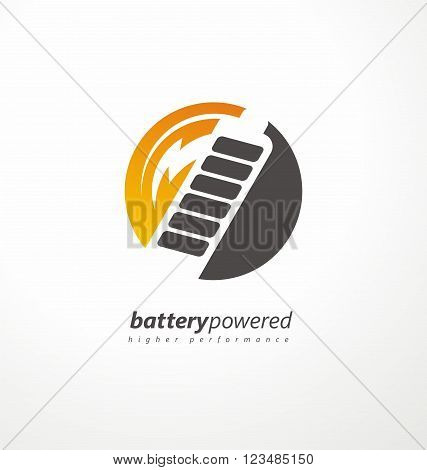 Battery power icon design layout. Energy concept. Creative symbol design with battery shape and flash symbol. Battery logo idea. Long duration batteries. Energy save. Vector logo design.