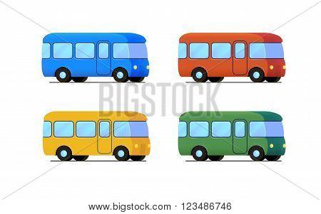 vector cartoon flat bus icon set. color car - blue, yellow, red. green, school