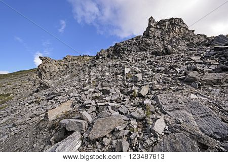 Scree Slope on Rock Outcrop in Denali National Park in Alaska