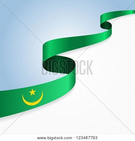 Mauritanian flag wavy abstract background. Vector illustration.
