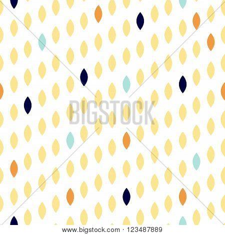 Simple drop polka dot yellow shape seamless pattern. Vector geometric row background. Polkadot pattern. Dotted scandinavian ornament.