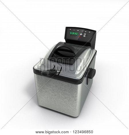 3D Illustration Of modern steel deep fryer isolated on white background
