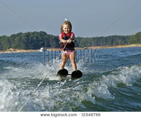 Young Girl Waterskiing