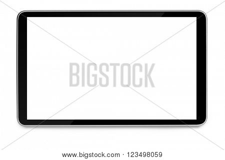 modern black tablet pc with blank screen isolated on white background