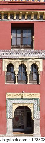 Windows showing the mudejar architecture in the old city of Cordoba Spain