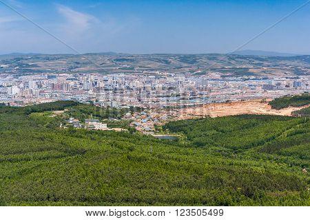 Panorama of Jilin city in Northern China