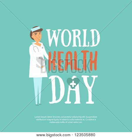 Abstract world health day concept with doctor and stylish text on blue background. Health day design concept