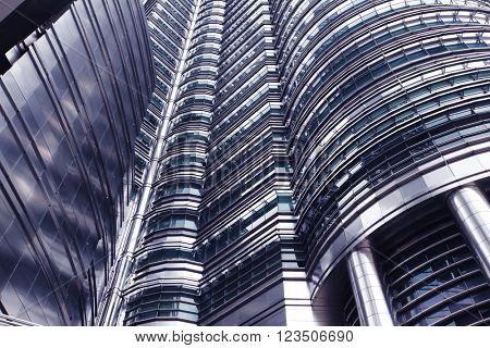 Futuristic skyscraper in Kuala Lumpur, Malaysia, close-up view