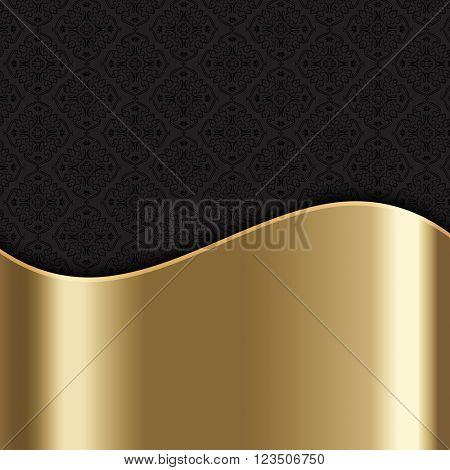 Elegant stylish background with gold texture and Damask pattern