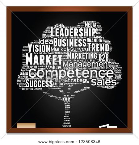 Concept or conceptual white tree on blackboard leadership marketing or business word cloud on black background wordcloud