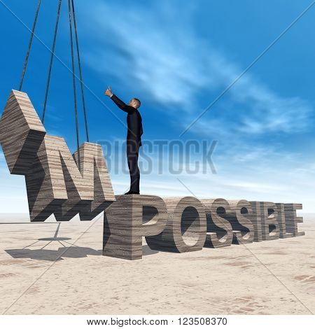 3D illustration concept conceptual 3D business man standing over abstract stone impossible text on sky background