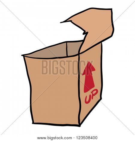 freehand drawn cartoon illustration of empty box