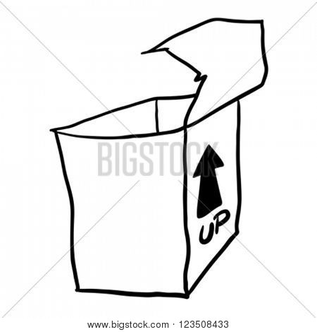 simple black and white freehand drawn cartoon empty box