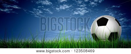 3D illustration concept or conceptual 3D soccer ball in fresh green summer or spring field grass with a blue sky background banner