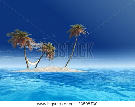 3D illustration concept or conceptual isolated exotic island with palm trees with a hammock and sand in the sea or ocean over blue sky background with white clouds