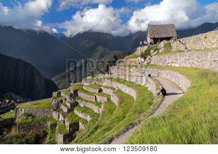 Machu Picchu, Aguas Calientes/peru - Circa June 2015: View Of Terraces In Machu Picchu Sacred Lost C