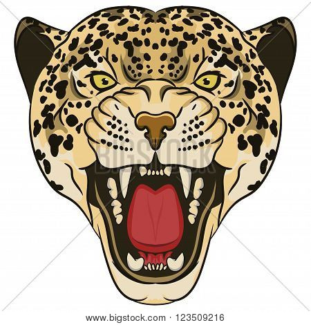 Leopard Portrait. Angry wild big cat head. Cute face of African Cat. Aggressive animal with bared teeth in cartoon style, cat tattoo, t-shirt print design