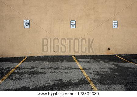 Employee Parking Signs in Empty Parking Spots
