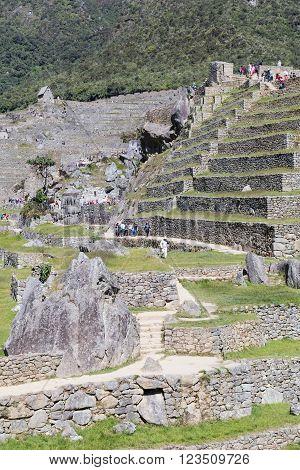 Machu Picchu, Aguas Calientes/peru - Circa June 2015: Terraces Of Machu Picchu Sacred Lost City Of I