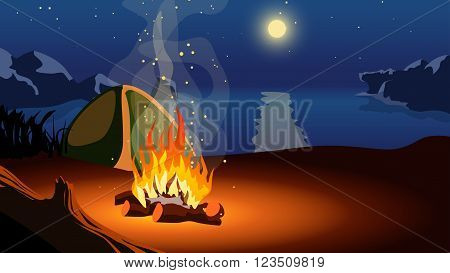 illustration of fire in the camp on beach at night