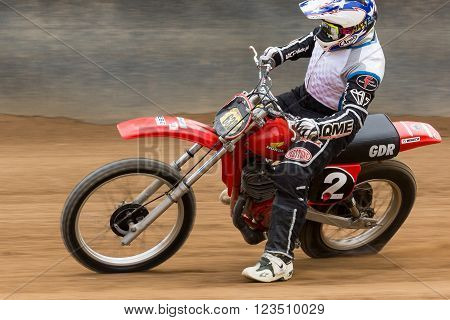 BROADFORD VICTORIA/AUSTRALIA - MARCH 26 2016: Classic Speedway action at The Boradford Bike Bonanza at the Broadford Motorcycle Complex near Melbourne.