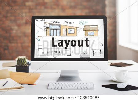 Layout Blueprint Design Construction Editing Concept