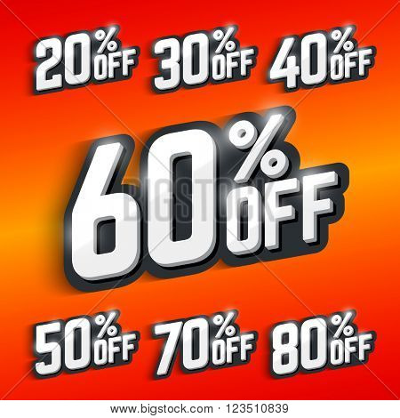 Discount percentage, big sale. Vector illustration.