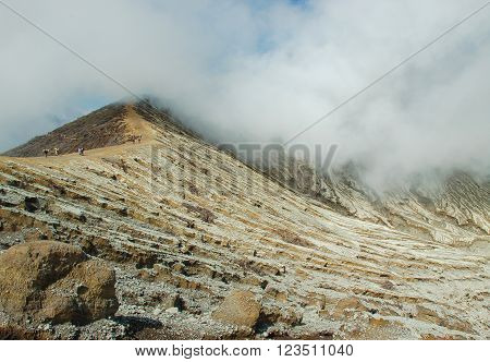 Kawah Ijen vulcano in East Java Indonesia