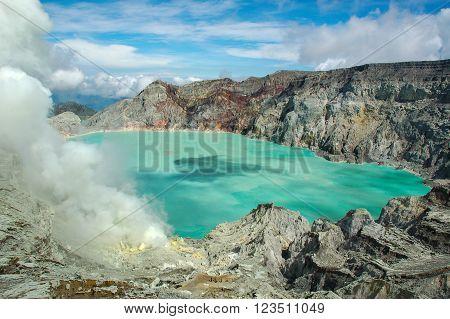 The sulfuric lake of Kawah Ijen vulcano in East Java Indonesia