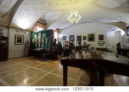 ST. PETERSBURG, RUSSIA - MARCH 24, 2016: People in the Pushkin House during the presentation for tour operators and media representatives. Founded in 1905, now it hosts Institute of Russian Literature