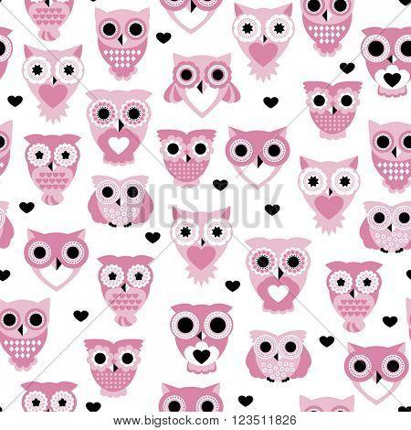 Seamless colorful owls love for kids owl bird pattern scandinavian retro pastel beige background pattern in vector