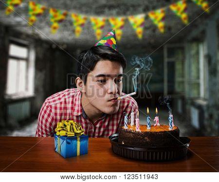 Birthday boy smoking