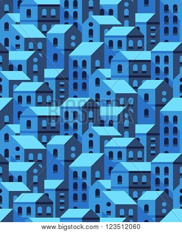 Vector seamless pattern with flat style houses. Small city or town texture.