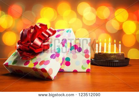 Birthday cake and presents