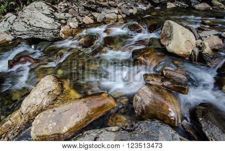 Smoky  Mountain Stream. The Pigeon River flows through the Great Smoky Mountains National Park in Gatlinburg,  Tennessee.