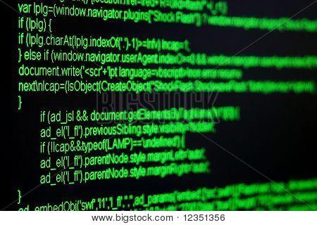 grüne html-Code auf schwarzen Bildschirm