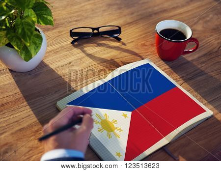 Philippines National Flag Studying Reading Book Concept