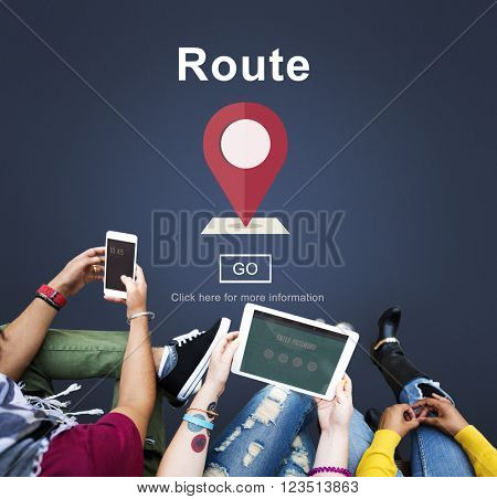 Route Direction Position Map Concept