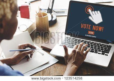 Vote Now Election Polling Political Concept