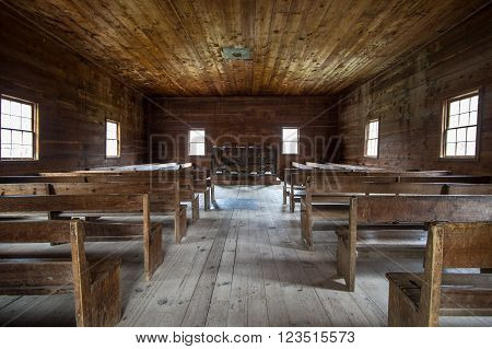 Gatlinburg, Tennessee, USA. March 25, 2016 - Interior of the historical Cades Cove Primitive Baptist Church in the Great Smoky Mountains National Park.
