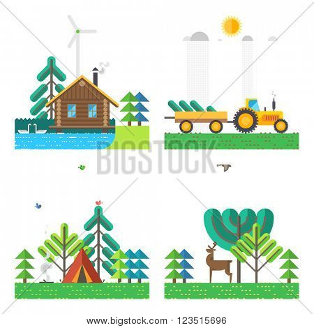 Set of 4 illustrations - House on the lake, Tractor carrying wood, Campground, Deer in the forest. Ecosystem, wildlife. House hunter. Flat design.
