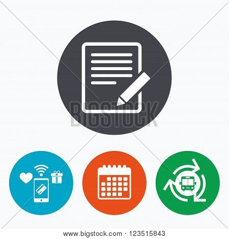 Edit document sign icon. Edit content button. Mobile payments, calendar and wifi icons. Bus shuttle.