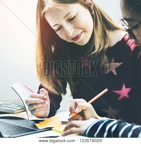 Female Friendship College Brainstorming Casual Concept