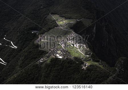 Macchu Picchu from summit of Huayna Picchu Mountain