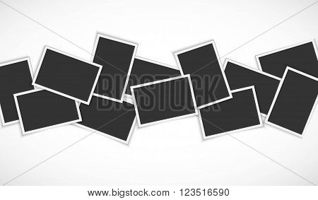 Pile of photo frames on white background